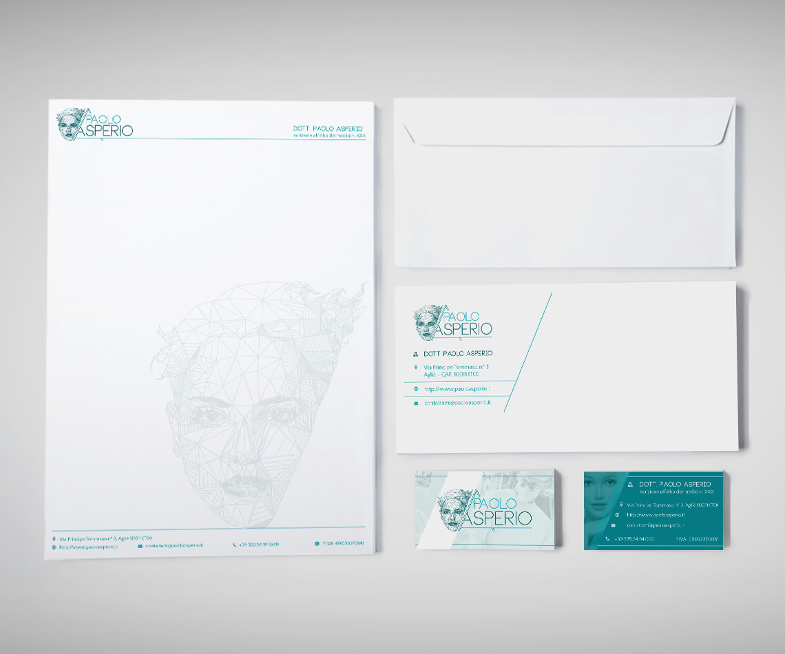 brand identity per il Dr. Paolo Asperio: carta intestata, busta e biglietto da visita