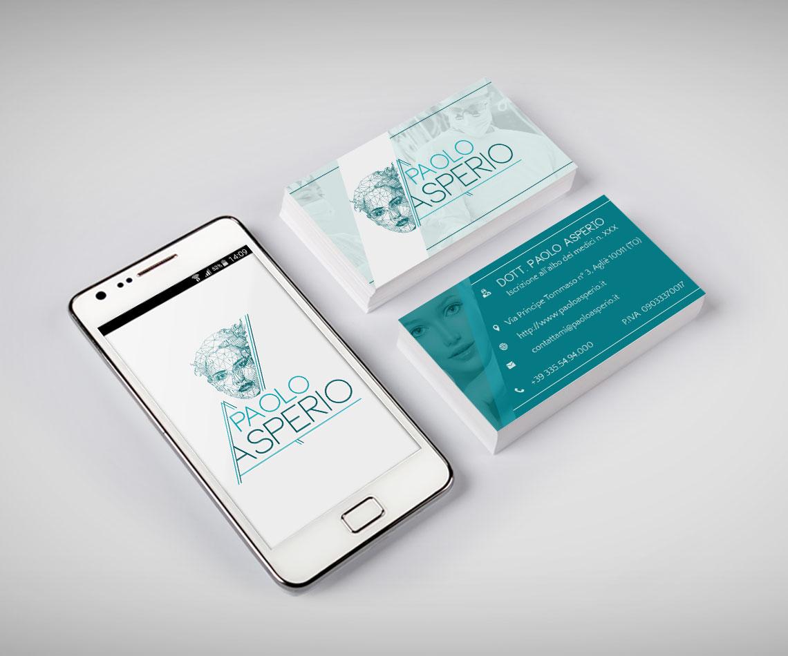 Brand identity per Dr. Paolo Asperio: biglietto da visita e anteprima del sito su smartphone