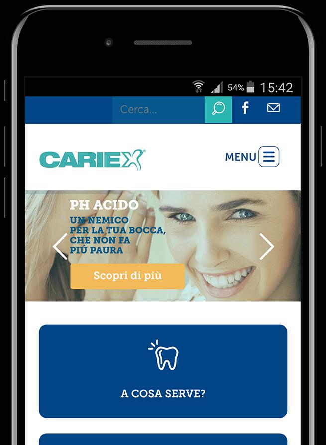 Anteprima del sito Cariex su smartphone